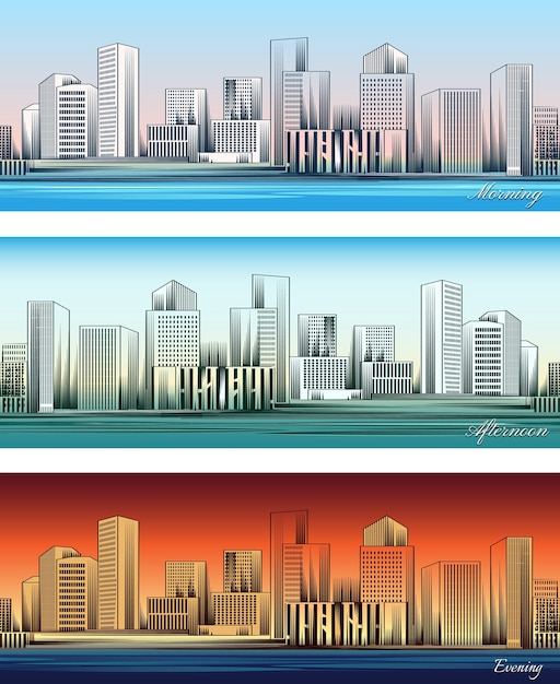 Set of city skylines in morning, afternoon and evening backgrounds seamless. Free Vector