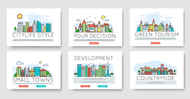 Set of city skylines and suburban different buildings in skyline. thin line  concept Premium Vector