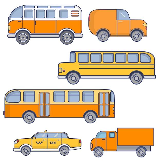 Set of city vehicles passenger urban bus,school yellow bus, tourist van,taxi sedan car, truck. Premium Vector