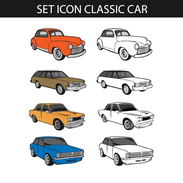 Set of classic car, collection of retro muscle cars Premium Vector