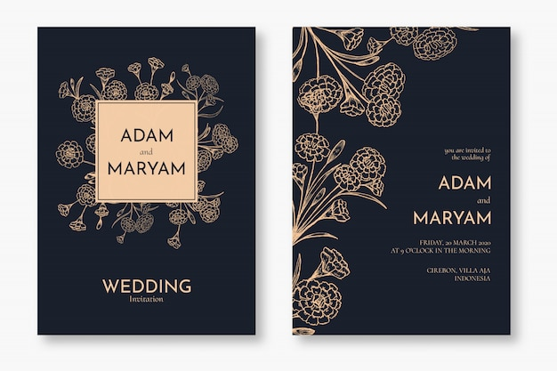 Set classic floral outline hand drawn luxury wedding invitation design or card templates for wedding Premium Vector