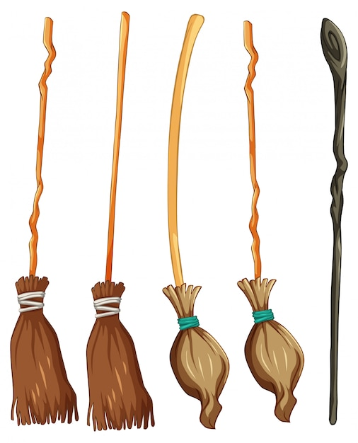Set of classic witch broom Free Vector
