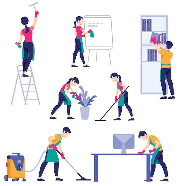 Set of cleaning company staff different poses Premium Vector