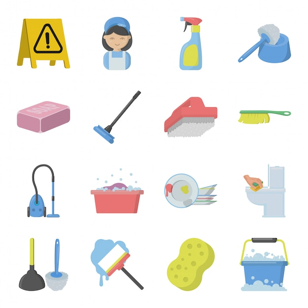 Set of cleaning service elements Premium Vector