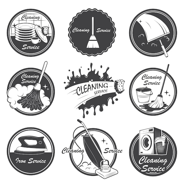 Set of cleaning service emblems, labels and designed elements. Free Vector