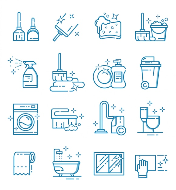 Set of cleaning service icons with outline style Premium Vector