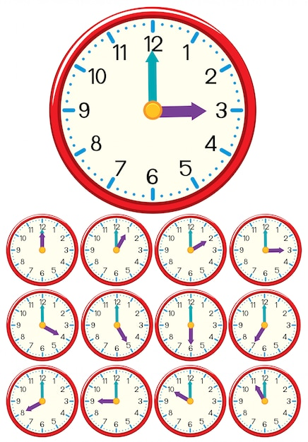 A set of clock and time Premium Vector