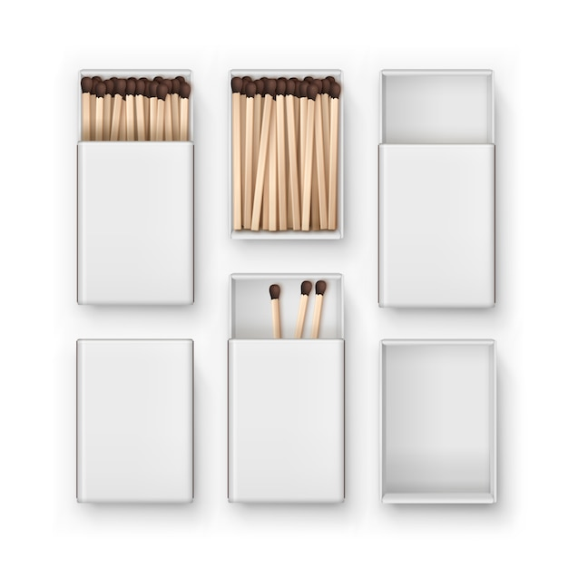 Set of closed opened blank boxes of brown matches top view  on white background Premium Vector