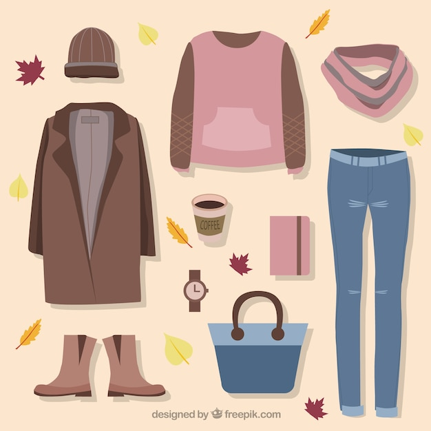 Set of clothes and accessories for autumn Free Vector