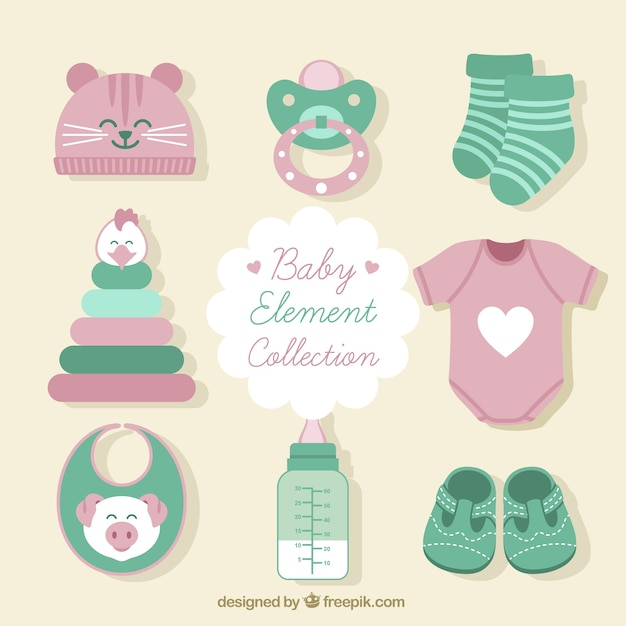 Set of clothes and baby items Vector   Free Download