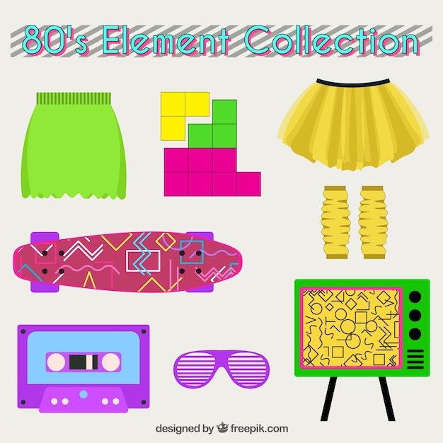 Set of clothes and eighties objects in flat design Free Vector