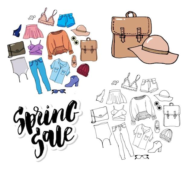 Set clothes thin line style fashion illustration sale Premium Vector