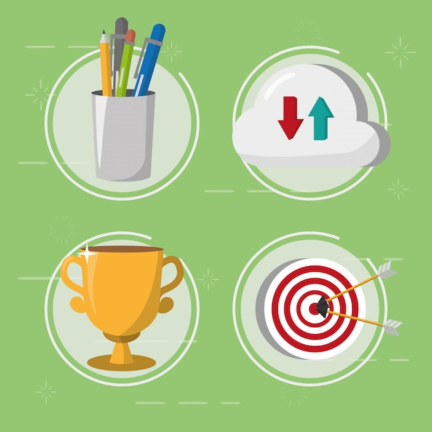 Set cloud storage target trophy and supplies, flat style Free Vector