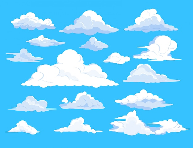 Set of clouds in sky Free Vector