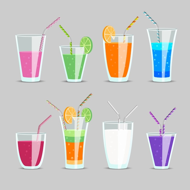 Set of cocktail and fruit juice drinks. glass and milkshake, orange and tonic, mix exotic ingredient with straw, Free Vector