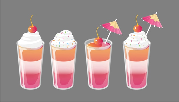 Set of cocktail jelly shot with toppings. fresh sweet drink ads concept. Premium Vector