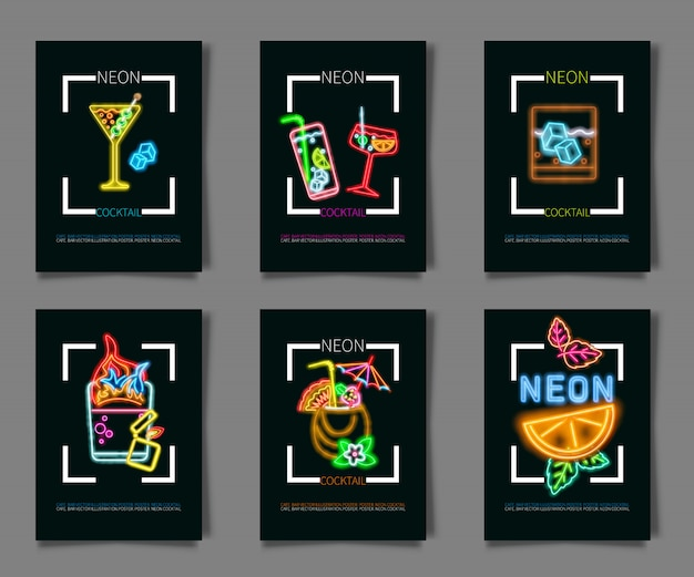 Set coctail and drink neon sign Premium Vector