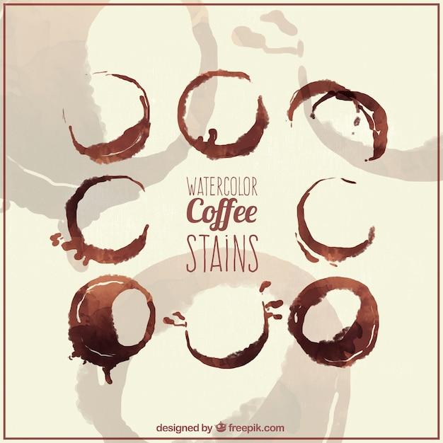 مجموعه ای از لکه های قهوه در اثر آبرنگ