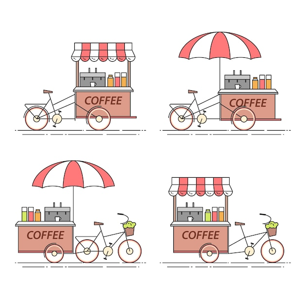 Set of coffee bicycles. cart on wheels. food kiosk . vector illustration. flat line art. elements for building, housing, real estate market, architecture design, property investment flyer, banner Premium Vector