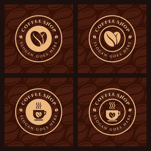 Set of coffee, coffee shop logo template Premium Vector