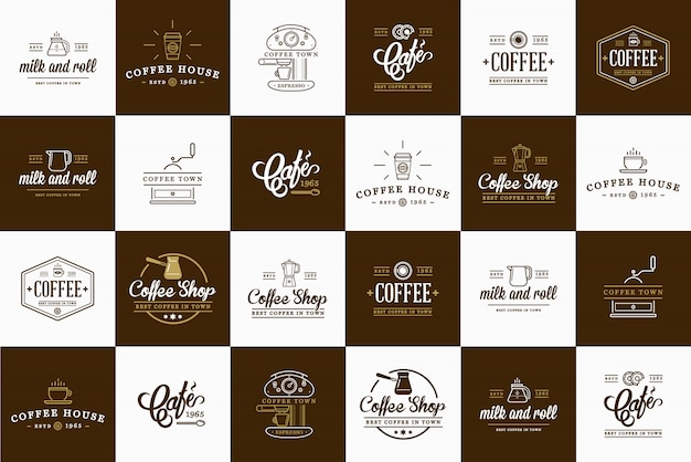 Set of coffee elements and coffee accessories Premium Vector