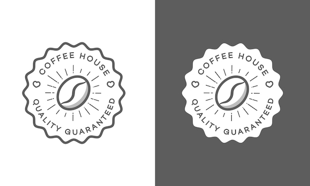 Set of coffee house logo isolated on white and black Premium Vector