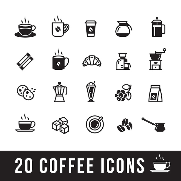 Set of coffee icons for cafe Premium Vector