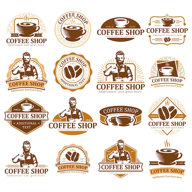 Set of coffee logo,  coffee label badge or emblem pack, cafe label collection. Premium Vector