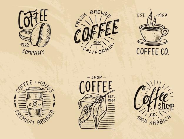 Set of coffee logos. modern vintage elements for the shop menu.  illustration. Premium Vector