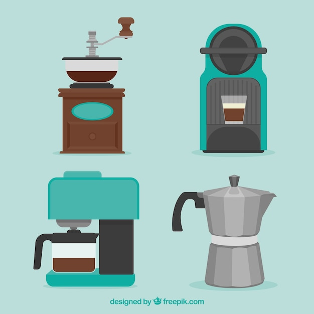 Set of coffee makers and other coffee accessory Free Vector