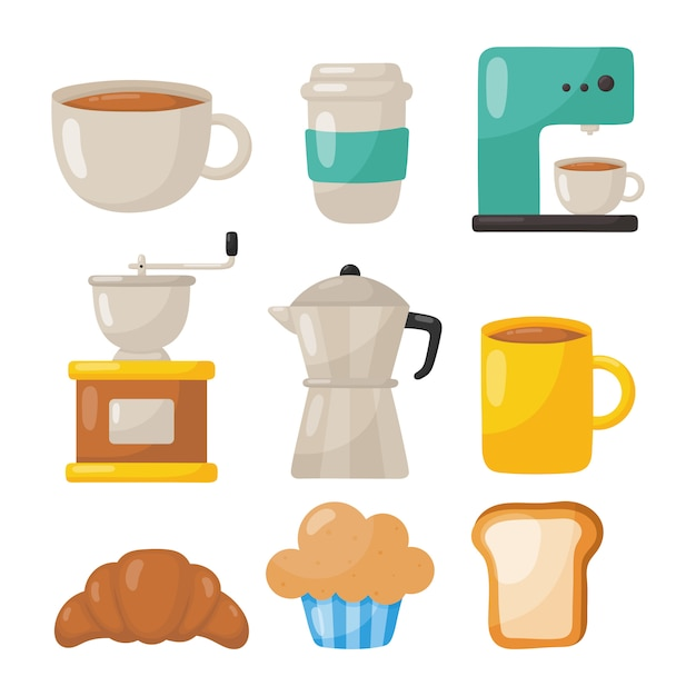 Set of coffee shop icons isolated Premium Vector