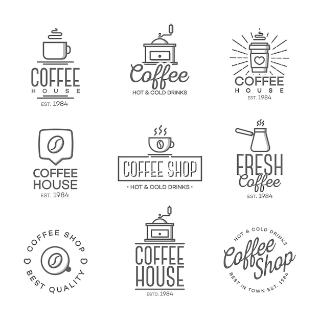 Set of coffee shop logo isolated Premium Vector