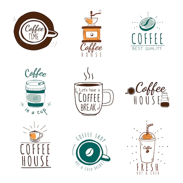 Set of coffee shop logos vector Free Vector