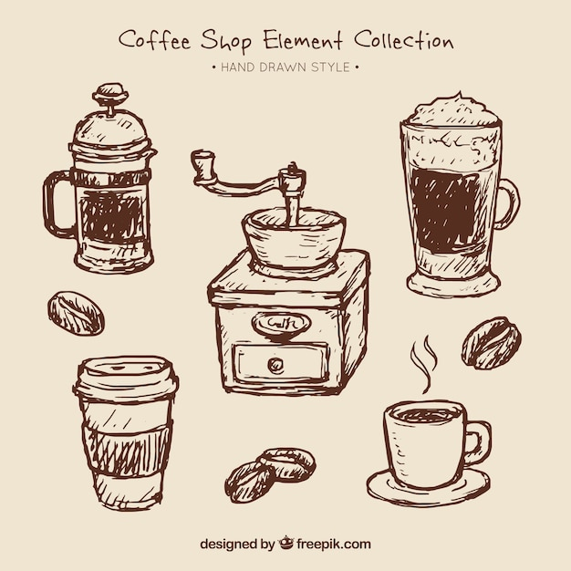 Set of coffee sketches and coffee grinder Free Vector