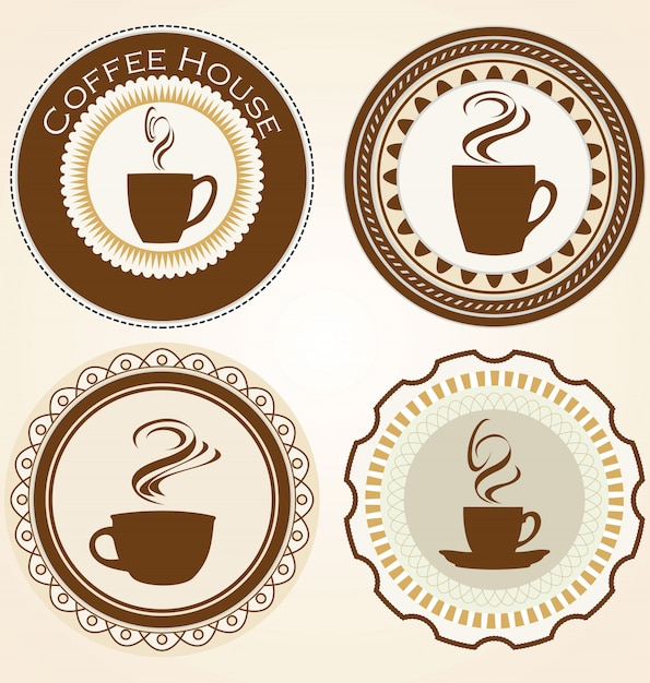 Set of coffee and tea labels Premium Vector