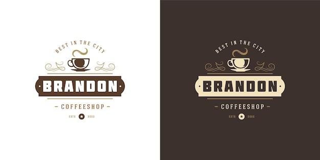 Set of coffee or tea shop logos Premium Vector