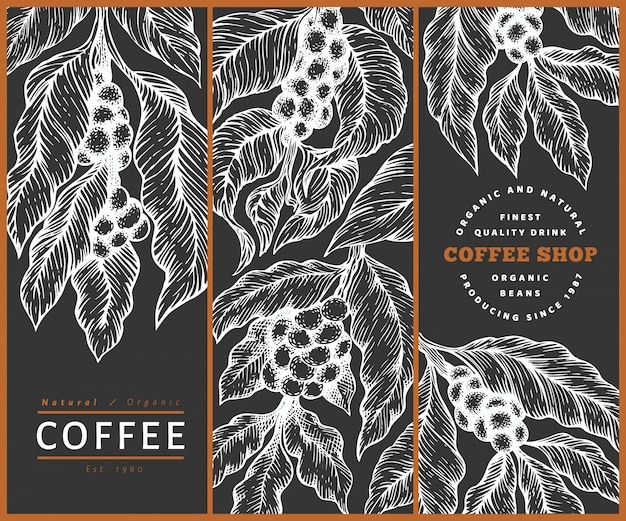 Set of coffee   templates. vintage coffee background. hand drawn engraved style illustration on chalk board. Premium Vector