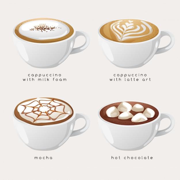 Set of coffee types :  illustration Premium Vector
