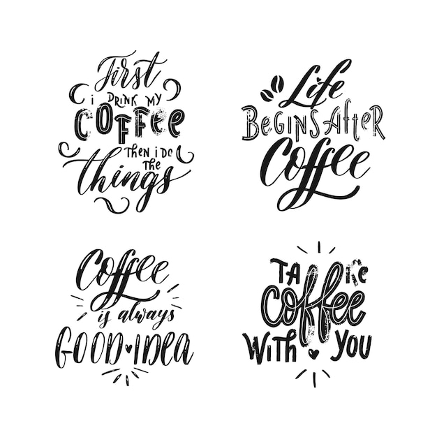 Set of  coffee Premium Vector