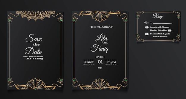 컬렉션 beautifull 럭셔리 결혼식 초대 카드 디자인 설정 무료 벡터