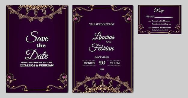Установить коллекцию красивых роскошных свадебных приглашений Бесплатные векторы