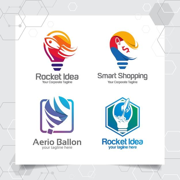 Set collection bulb logo template idea design concept of rocket spaceship Premium Vector