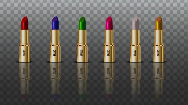 コレクションの色の口紅の透明な背景を設定します Premiumベクター