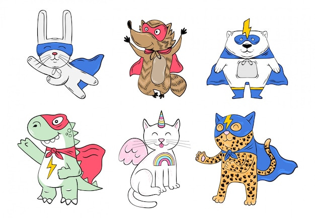 Set collection of cute characters, superhero animals in mask and cloak with super power. cartoon doodle hand drawn illustration. Premium Vector