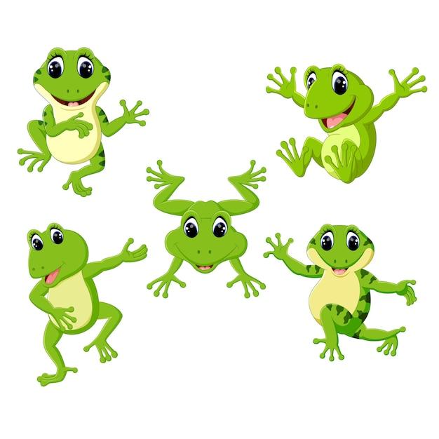 Set collection cute frog cartoon Premium Vector
