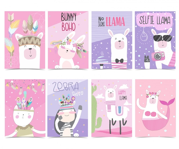Set collection cute greeting card  pack Premium Vector