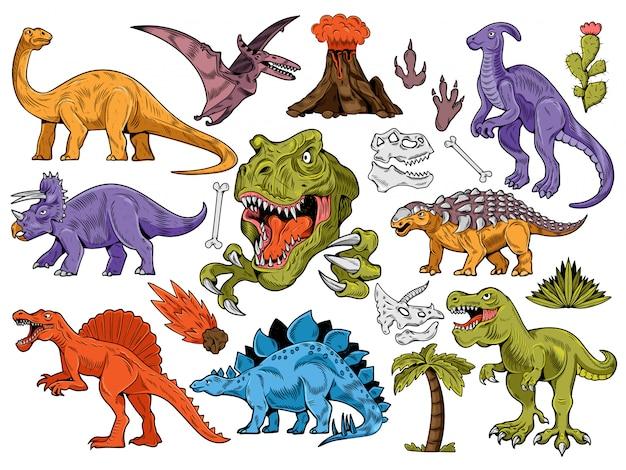 Set collection of engraving, cartoon style, hand drawn dinosaurs, volcano, palm, plants, bone. Premium Vector