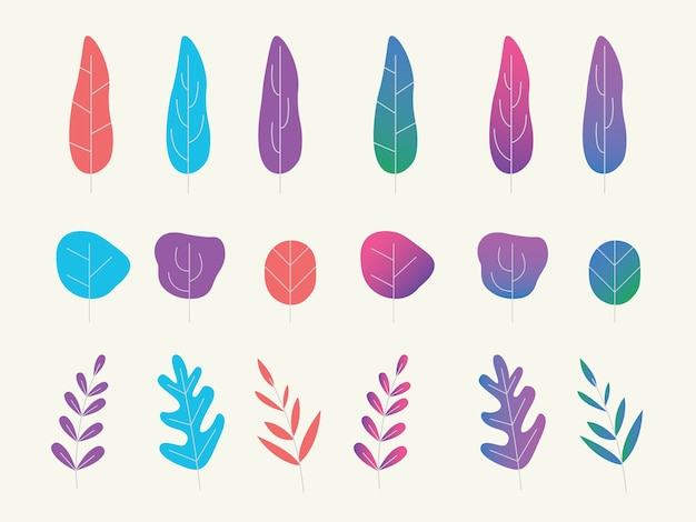 A set collection of fantasy plantations or tree with flat gradient style Premium Vector