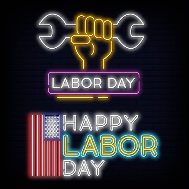 Set collection happy labour day neon sign vector illustration Premium Vector