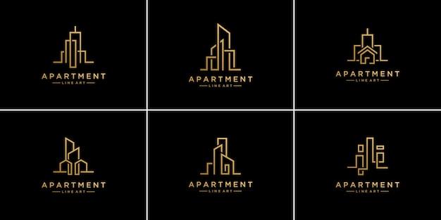 Set collection liner real estate logo design templates. Premium Vector